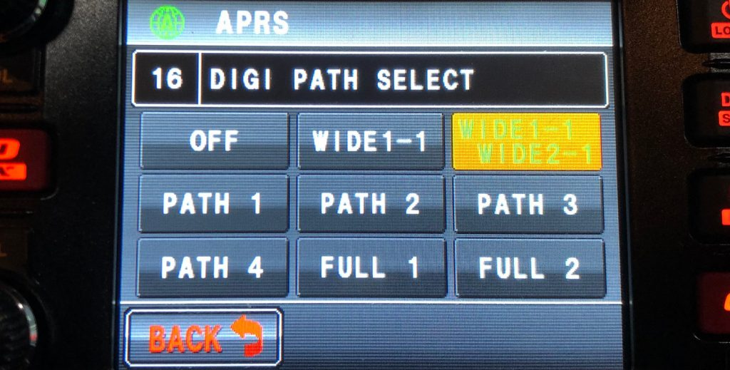 APRS path set to Wide1-1,Wide2-1