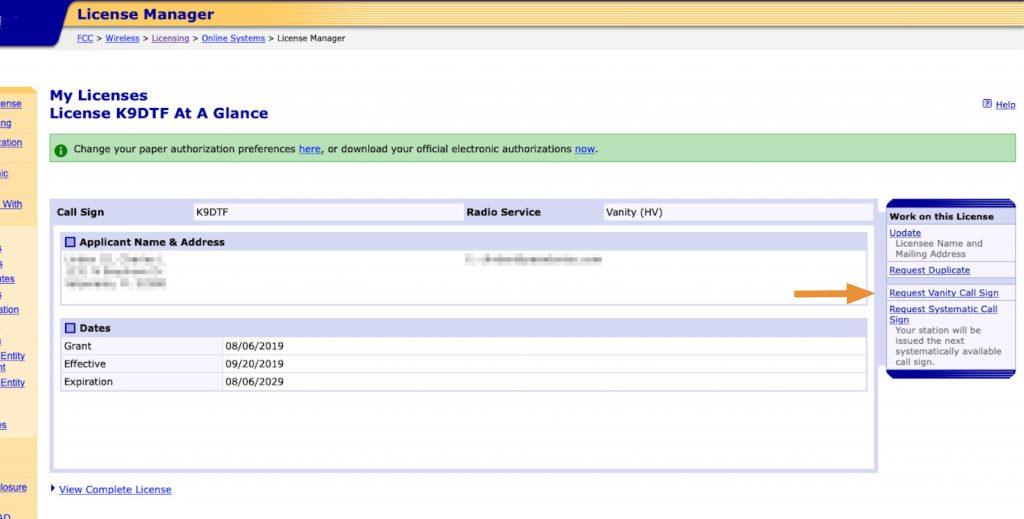 Vanity Callsign Application Process